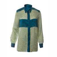 Roses Are Red Cynthia Silk Shirt In Petrol Blue Gold Green