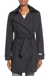 Women's Via Spiga Faux Leather Trim Trench Coat Black