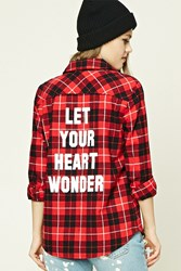 Forever 21 Graphic Plaid Flannel Shirt Red Black