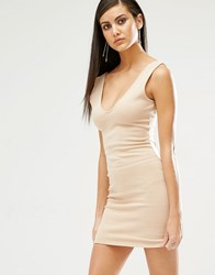 Missguided Plunge Neck Bodycon Mini Dress Nude Beige