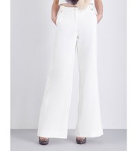 Ted Baker Wide Leg High Rise Crepe Trousers White
