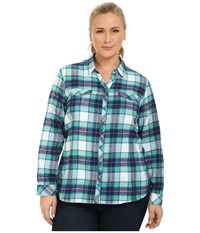 Columbia Plus Size Simply Put Ii Flannel Shirt Emerald Plaid Women's Long Sleeve Button Up Green