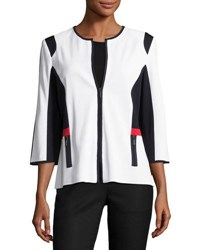 Ming Wang Colorblock Zip Front Knit Jacket Wnn