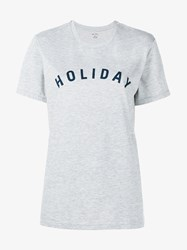 Holiday Logo Cotton Short Sleeve T Shirt Grey Navy Denim