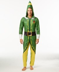 Briefly Stated Men's Buddy The Elf Hooded Jumpsuit Pajamas Green