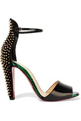 Christian Louboutin Tropanita 100 Studded Patent Leather Sandals Black