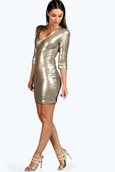 Boohoo Nicola Antique Sequin Bodycon Dress Gold
