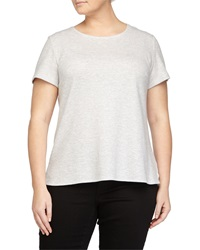 Lafayette 148 New York Striped Scoop Neck Tee Heather Gray Multi