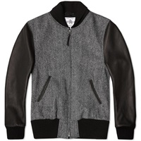 Golden Bear Sportswear Harris Tweed Varsity Jacket Charcoal Herringbone