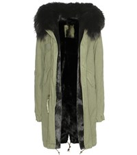 Mr And Mrs Italy Army Fur Lined Parka With Fur Trimmed Hood Green
