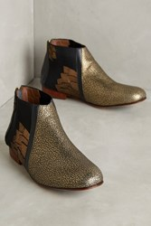 Anthropologie Luiza Perea Winged Metallic Booties Gold