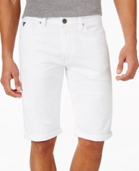 Guess Straight Leg Shorts Alter White Destroy Wash