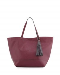 Neiman Marcus Saffiano Faux Leather Tassel Tote Bag Burgundy