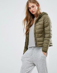 Pull And Bear Pullandbear Quilted Jacket With Hood Khaki Green