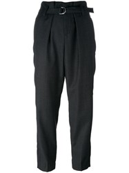 Dondup Belted Straight Trousers Black