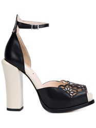 Fendi Laser Cut Platform Sandals Black