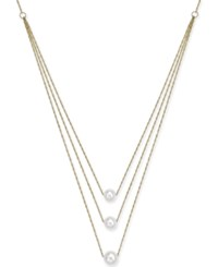 Macy's Cultured Freshwater Pearl 5 1 2 7Mm Tiered Statement Necklace In 14K Gold White