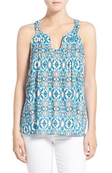 Plenty By Tracy Reese Women's Print Split Neck Tank