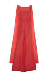 Rosie Assoulin Sleeveless Cape Jumpsuit Red