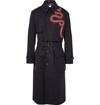 Dries Van Noten Drie Radley Grograin Trimmed Wool Blend Trench Coat Navy