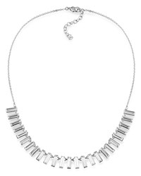 Abs By Allen Schwartz Baguette Necklace 16 Silver