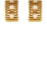 Mahnaz Collection Vintage Women's White Diamond And Yellow Gold Ribbed Earrings Gold