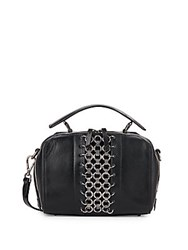 Dannijo Ricci Chain Trimmed Leather Crossbody Bag Nero