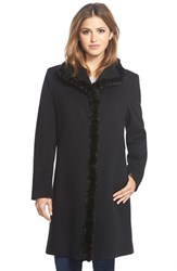 Petite Women's Fleurette Genuine Mink Trim Stand Collar Wool Coat Black