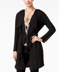 Thalia Sodi Open Front Belted Draped Trench Only At Macy's Deep Black