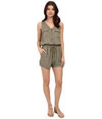 Brigitte Bailey Tory Zip Front Romper Olive Women's Jumpsuit And Rompers One Piece