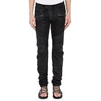 Balmain Men's Waxed Denim Moto Jeans Black Blue Black Blue
