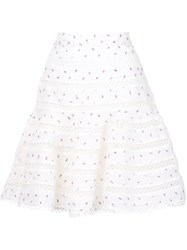 Zimmermann Flared Embroidered Skirt White