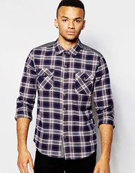 D Struct Kilburn Flannel Tartan Check Shirt Navy