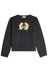 Fendi Cotton Sweatshirt With Fox Fur Black