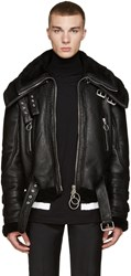 Off White Black Shearling Double Collar Jacket