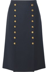 Michael Kors Collection Button Detailed Wool Broadcloth Skirt Midnight Blue