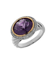 Lord And Taylor Amethyst Diamond Sterling Silver 14K Yellow Gold Ring Purple
