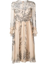 Philosophy Di Lorenzo Serafini Bird Print Midi Dress Nude Neutrals