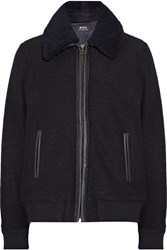 A.P.C. Atelier De Production Et De Creation Stacy Faux Leather And Shearling Trimmed Wool Jacket Midnight Blue