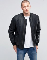 Asos Faux Leather Bomber Jacket With Ma1 Pocket In Black Black