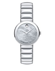 Movado Sapphire Stainless Steel Faceted Link Bracelet Watch Silver