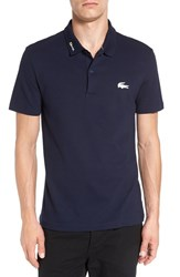 Lacoste Men's Rubber Croc Pique Polo Navy Blue