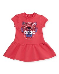 Kenzo Cap Sleeve Tiger Fit And Flare Sweat Dress Fuchsia Pink Size 6M 2 Size 18 Months