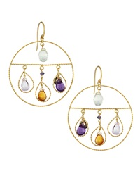 Nanis Open Circle Amethyst Citrine And Blue Topaz Dangle Earrings