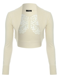 Jane Norman Crochet Butterfly Back Shrug Beige