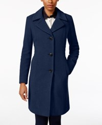Anne Klein Petite Wool Cashmere Blend Button Front Walker Coat Only At Macy's Sapphire