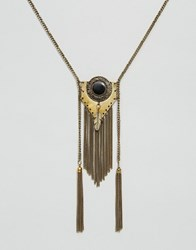 Asos Feather Festival Tassel Necklace Black