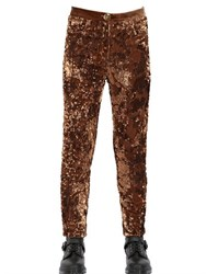 House Of Matching Colours Sequined Viscose Silk Velvet Trousers