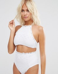Asos Mix And Match Crochet Lace Halter Crop Bikini Top White