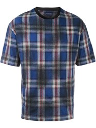 Lanvin Checked Pattern T Shirt Blue